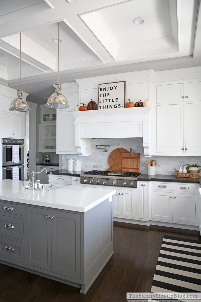 white kitchen with coffered ceiling