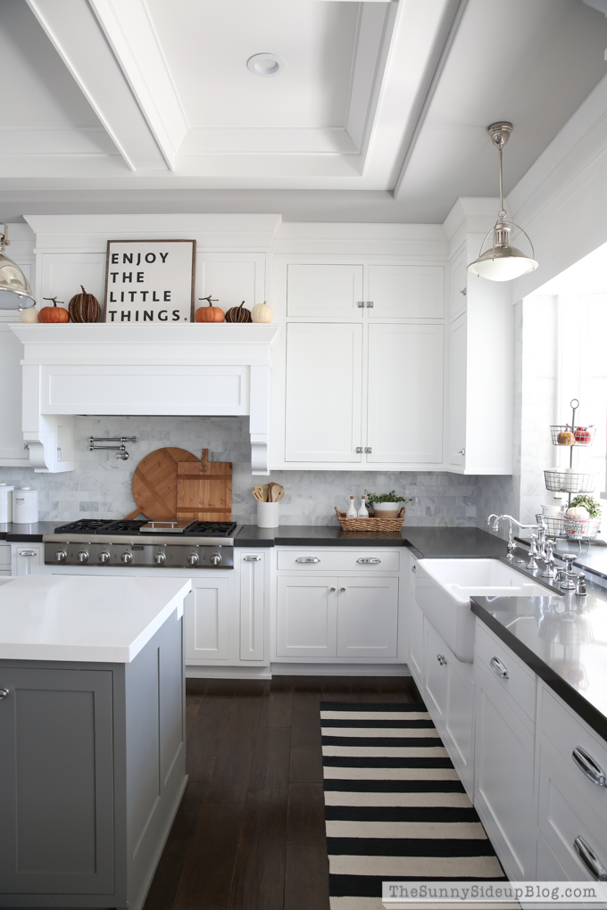 White cabinets and farmhouse sink
