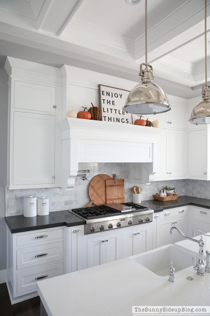 White quartz cabinets