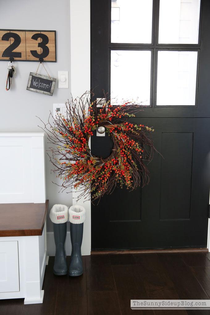 black dutch door fall mudroom decor