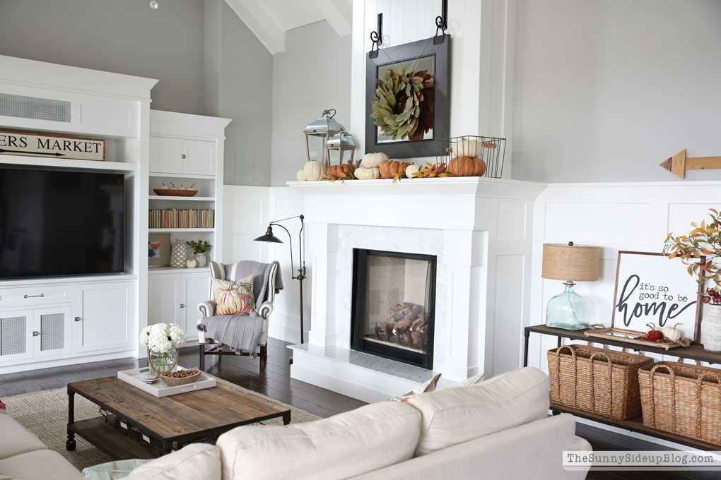 Fall Mantel Decor - Marble Fireplace (Sunny Side Up)