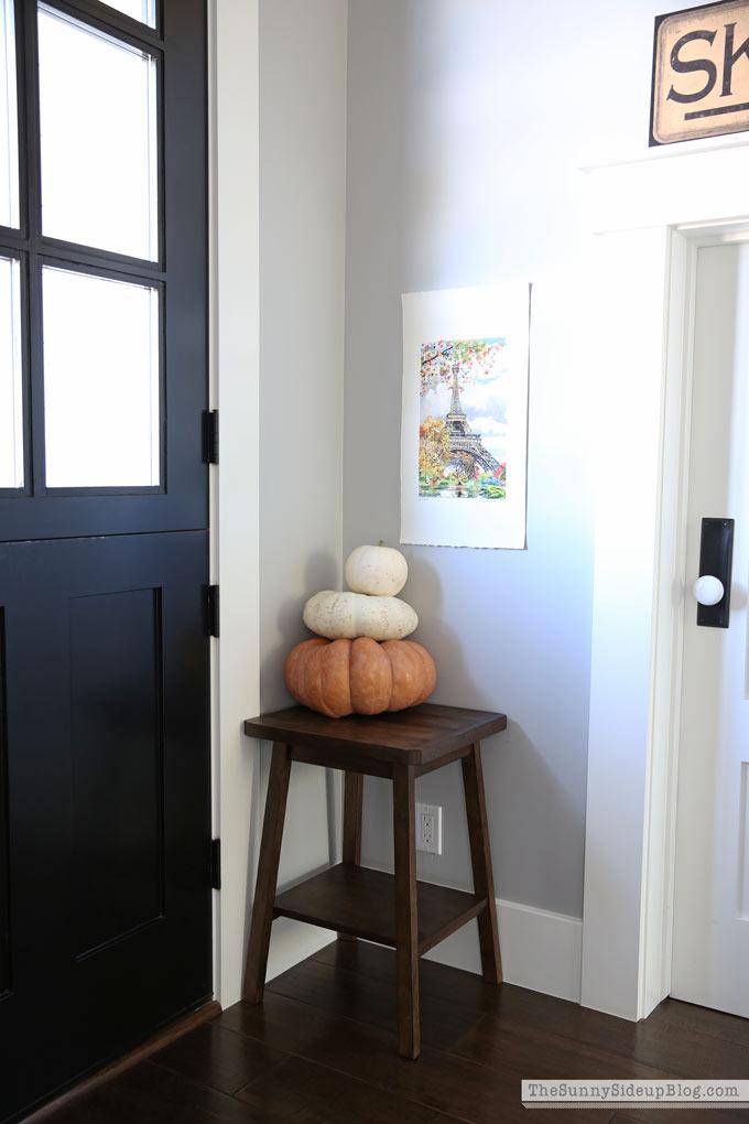 black dutch door fall mudroom decor side table