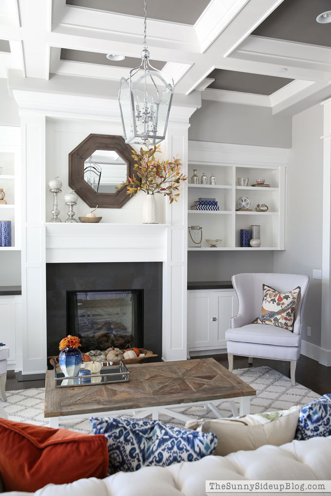 grey-coffered-ceiling-custom-built-in-shelves