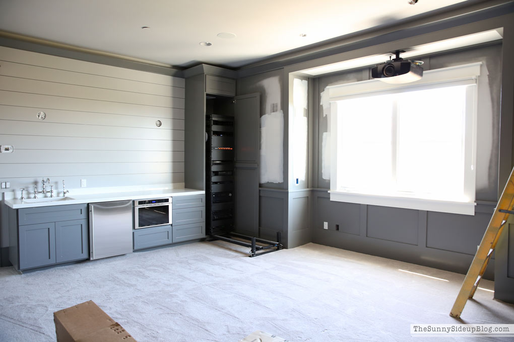 Theatre Room with Grey Paint and Appliances!
