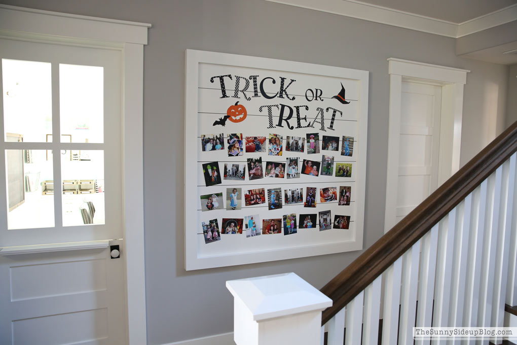 Shiplap Trick or Treat Halloween Picture Display
