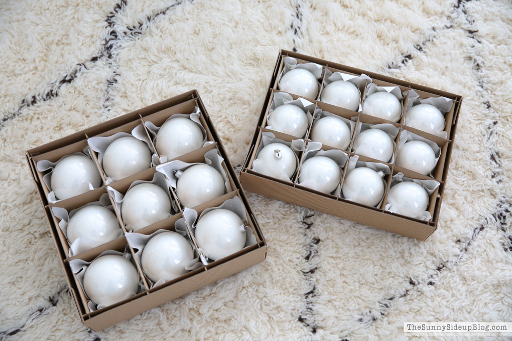Balsam Hill white ornaments