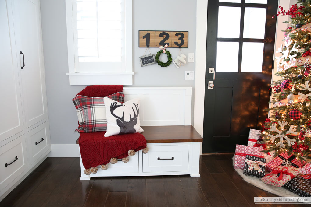 Christmas mudroom bench
