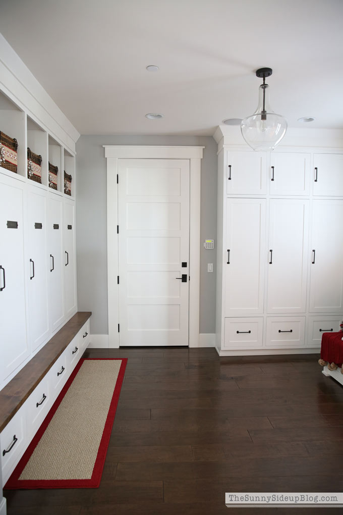 Mudroom with built-ins decked for Christmas!