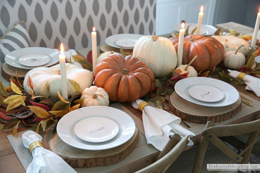 Fall pumpkin tablescape