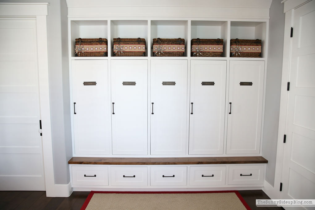 Mudroom With Built In Cabinets Decked For Christmas The