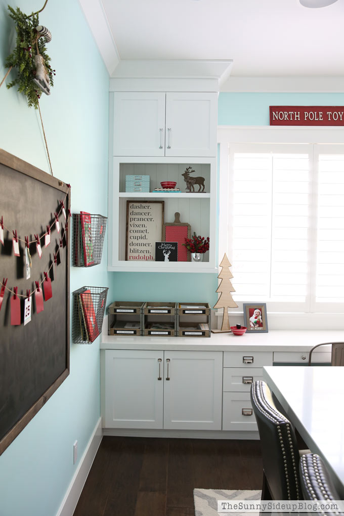 Office Christmas Decor with Container Store Gift Wrap