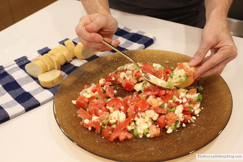 feta tomato onion dip (Sunny Side Up)