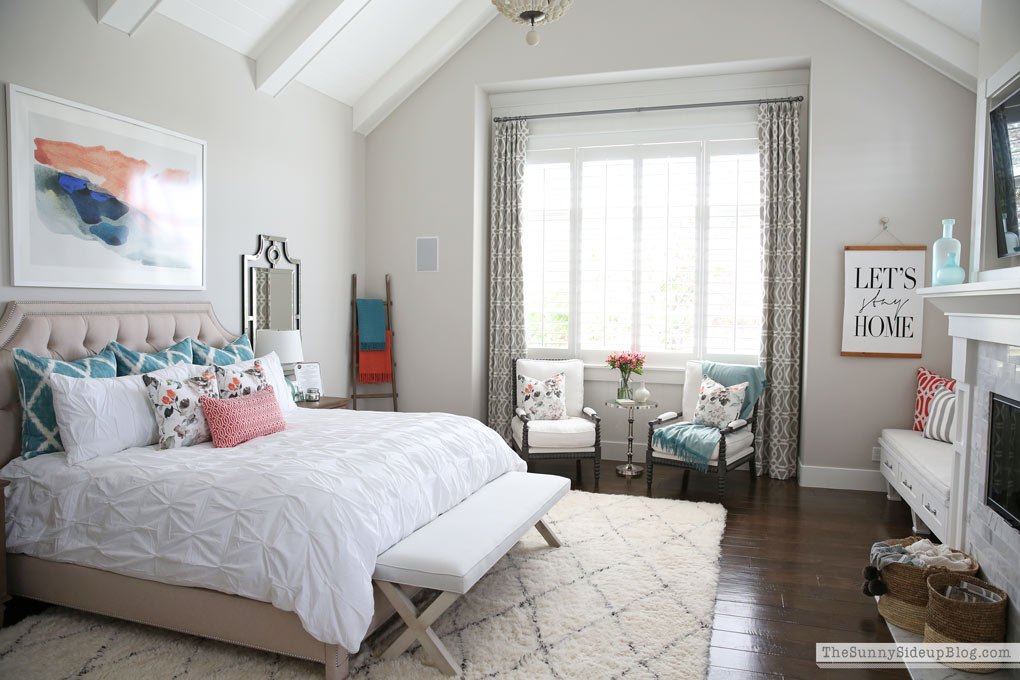 Master Bedroom Reveal! (Sunny Side Up) vaulted shiplap ceiling, plantation shutters, custom window bench seats, linen cabinet, french doors, wood floors, marble fireplace, sitting area, desk work space.