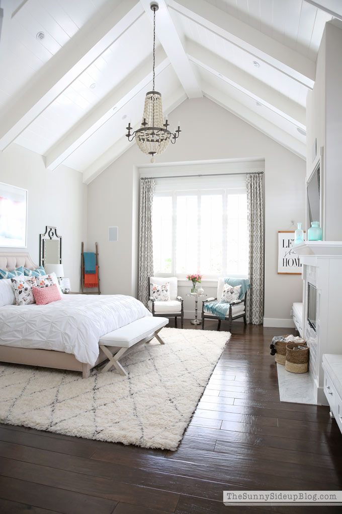 Master Bedroom Reveal Sunny Side Up Vaulted Shiplap Ceiling Plantation Shutters