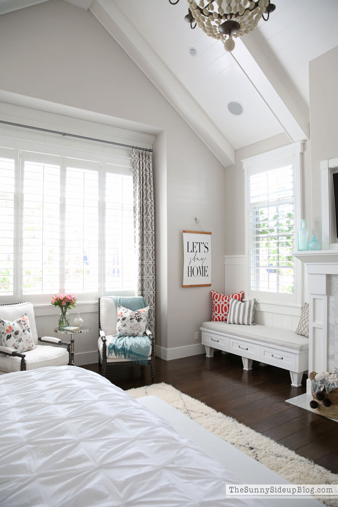 Master Bedroom Reveal! (Sunny Side Up) vaulted shiplap ceiling, plantation shutters, custom window bench seats, linen cabinet, french doors, wood floors, marble fireplace, sitting area, desk work space, spindle chairs.