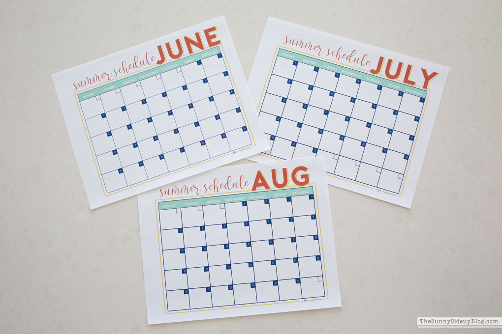 2018 summer calendar free printable sunny side up