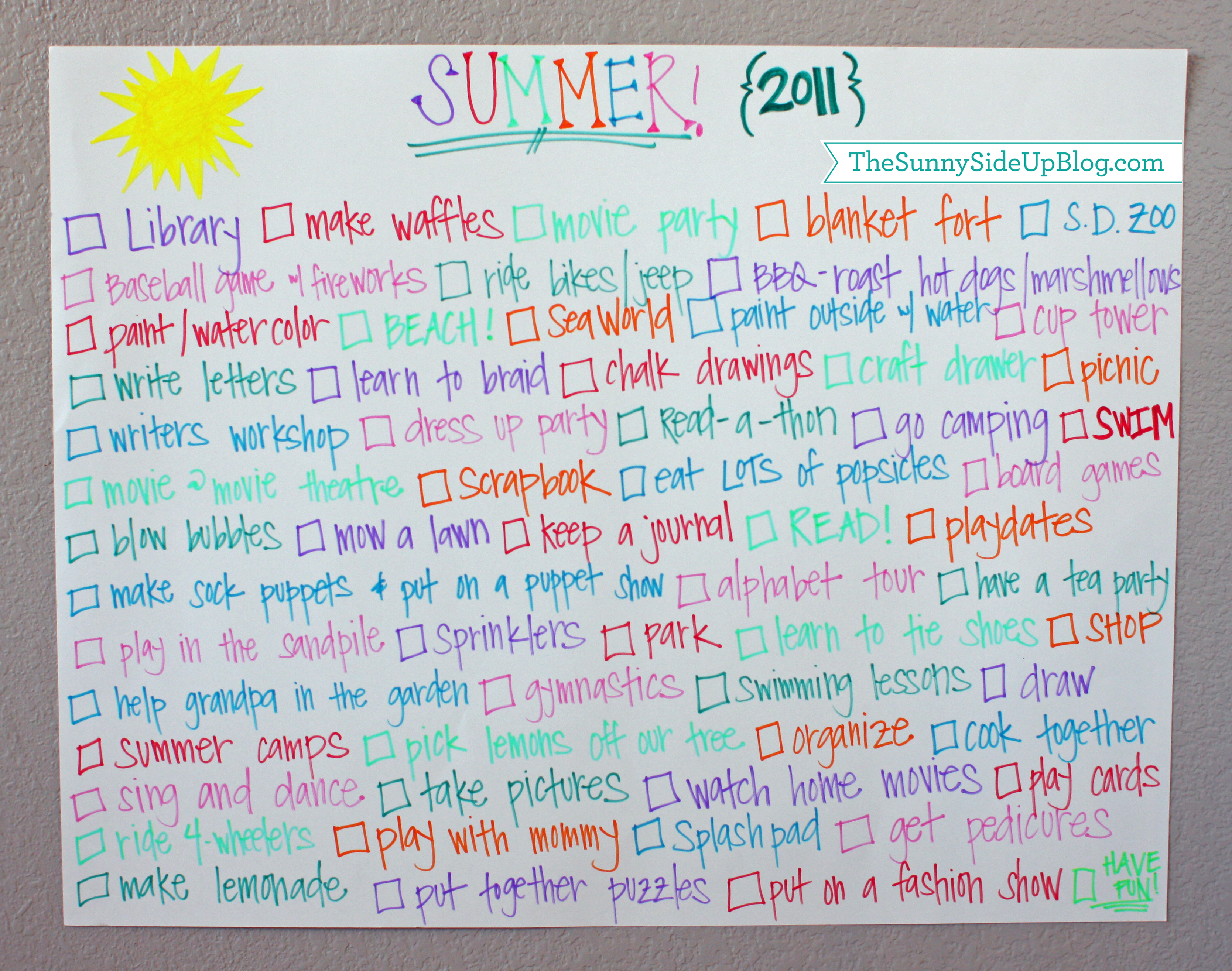 Summer to do list (Sunny Side Up)