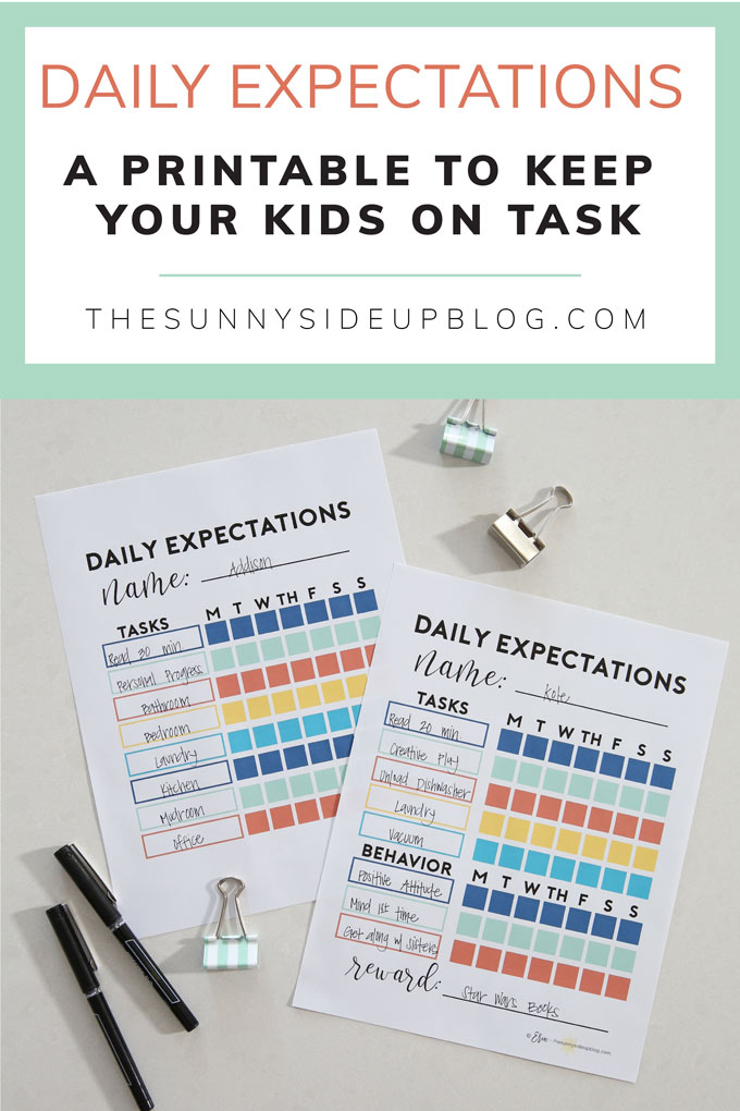 Daily Expectations - a free printable to keep your kids on task! (Sunny Side Up)