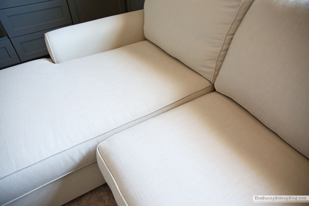 Details on the Pottery Barn Comfort Roll Arm Sectional! (Sunny Side Up)