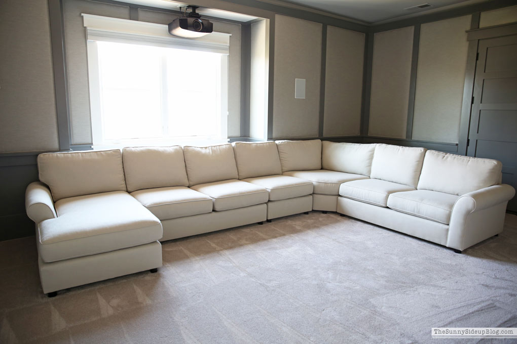 Pottery Barn Comfort Roll Arm Sectional Theatre Room Progress