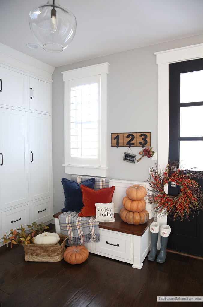 Fall Mudroom Decor (Sunny Side Up)