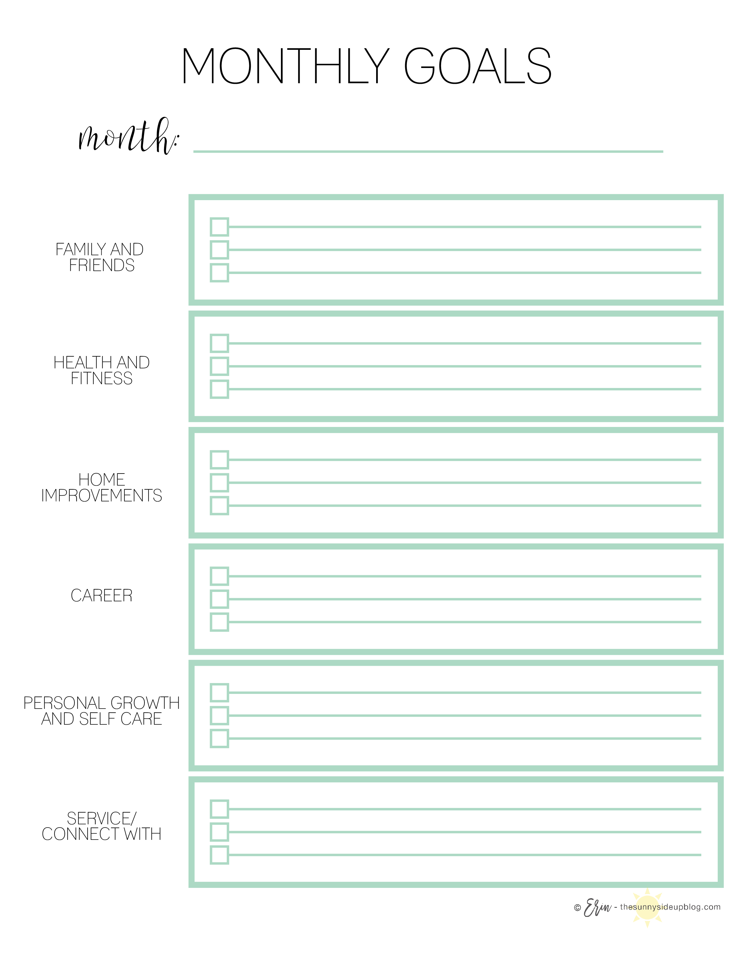 Goals/Habits/Plan Ahead Printables (Sunny Side Up)
