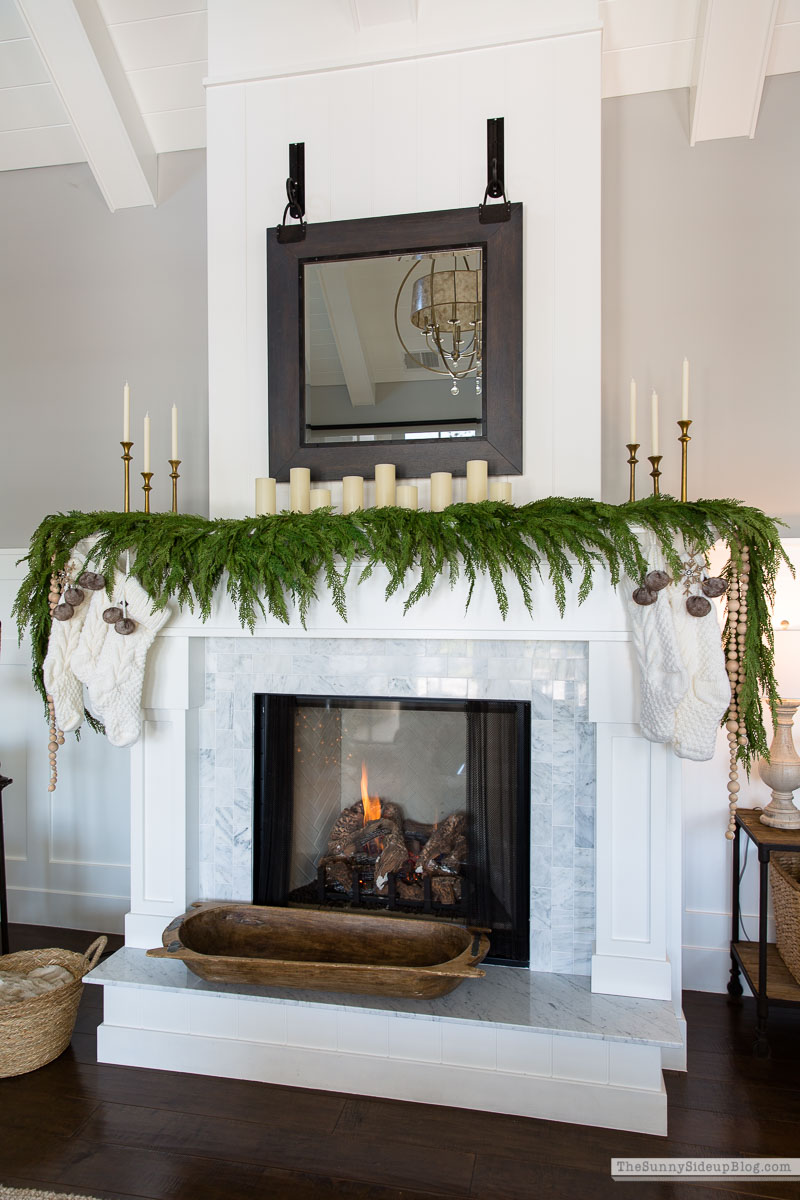 How to attach garland to a fireplace mantel (Sunny Side Up)