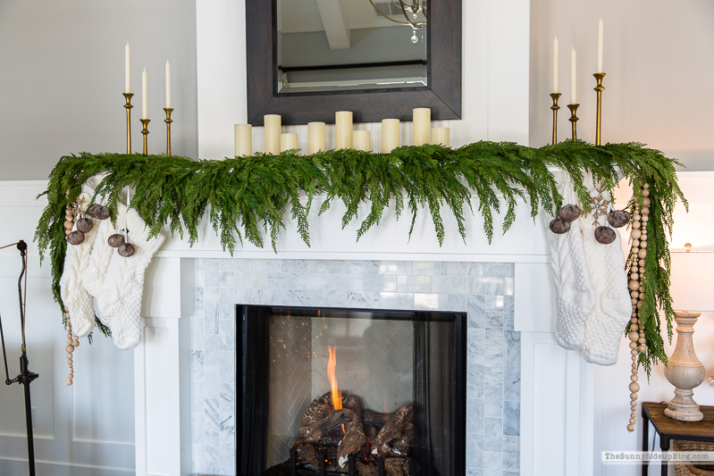How to attach garland to a fireplace mantel (and other fun updates!)