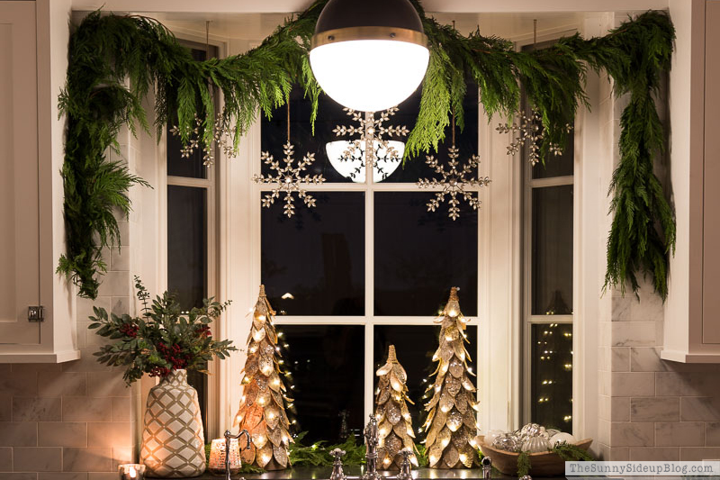 Kitchen Window and Powder Bathroom Christmas Decor