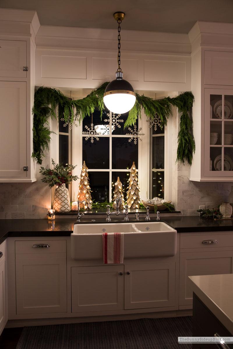 Kitchen Window and Powder Bathroom Christmas Decor - The Sunny
