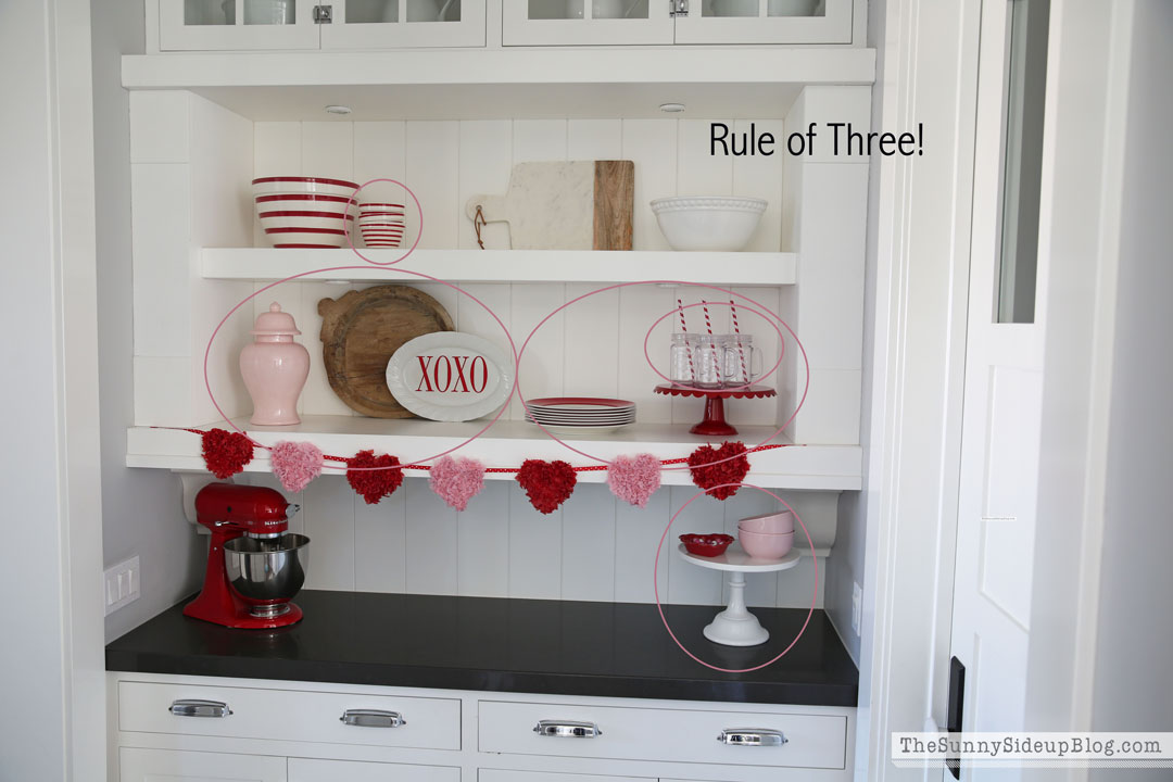 Rule of three - shelf styling (Sunny Side Up)