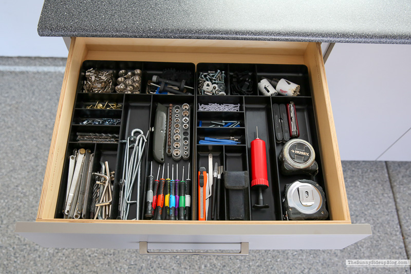 Organized Garage Drawers